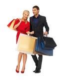 Mężczyzna i kobieta z torba na zakupy Obraz Stock