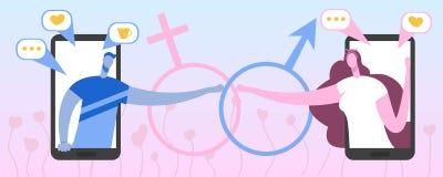 Mężczyzna i kobiety ciągnienie wręczamy do siebie i dzwonimy Miłość komunikacja wirtualna ilustracja wektor