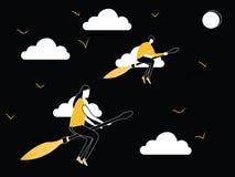 Mężczyzna i kobiety latanie na miotła kiju ilustracja wektor