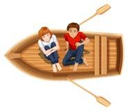 Mężczyzna i kobiety obsiadanie na łodzi ilustracja wektor