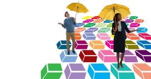Mężczyzna i kobiety odprowadzenie na kolorowym geometrycznym wzorze z parasolami ilustracja wektor