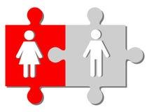 Mężczyzna i kobiety postacie na kawałkach łamigłówka ilustracji