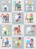 Mężczyzna i kobiety praca w biurze przy komputeru setem royalty ilustracja
