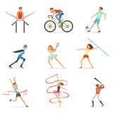 Mężczyzna i kobiety robi różnorodnym rodzajom sporty, sport kolorowych wektorowych ilustracj ludzie Obrazy Stock