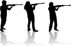 Mężczyzna i kobiety z pistoletami royalty ilustracja