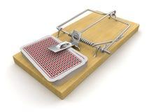 Mężczyzna i Mousetrap z karta do gry (ścinek ścieżka zawierać) Zdjęcie Stock