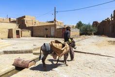Mężczyzna i osioł w Kharanagh wiosce, Iran Zdjęcia Stock