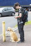 Mężczyzna i pies krzyżuje drogę Zdjęcia Stock