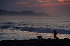 Mężczyzna i pies obok morza Zdjęcie Royalty Free