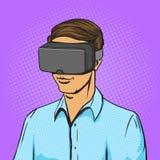 Mężczyzna i rzeczywistość wirtualna przyrządu komiksu wektor Zdjęcia Stock