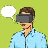 Mężczyzna i rzeczywistość wirtualna przyrządu komiksu wektor Zdjęcie Royalty Free