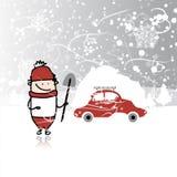 Mężczyzna i samochód z snowbank na dachu, zimy miecielica ilustracja wektor