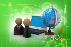 Mężczyzna ikona z laptopem i kulą ziemską Fotografia Royalty Free
