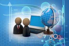 Mężczyzna ikona z laptopem i kulą ziemską Obraz Stock