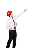 Mężczyzna inżynier pokazuje jego rękę Obraz Stock