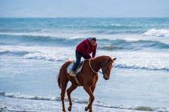Mężczyzna jazda na brązu galopującym koniu na Ayia Erini plaży w Cypr przeciw szorstkiemu morzu fotografia stock