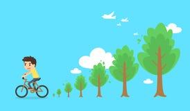 Mężczyzna jeździecki rowerowy i drzew rosnąć Fotografia Royalty Free