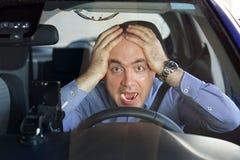 Mężczyzna jechać emocja Krzyczeć, okaleczający Zdjęcie Royalty Free