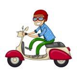 Mężczyzna jedzie hulajnoga kreskówkę Zdjęcia Royalty Free