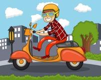 Mężczyzna jedzie hulajnoga z miasta tła kreskówką Fotografia Stock