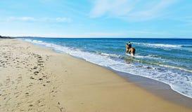 Mężczyzna jedzie konia w morzu Zdjęcia Stock