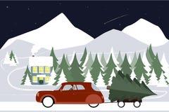 Mężczyzna jedzie w retro samochodzie na zimy drodze Fotografia Royalty Free