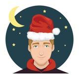 Mężczyzna Jest ubranym Święty Mikołaj kapelusz 1 Fotografia Stock