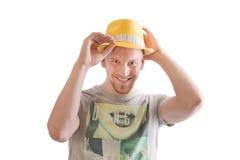 Mężczyzna jest ubranym kapelusz odizolowywającego na bielu Zdjęcia Royalty Free