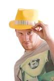 Mężczyzna jest ubranym kapelusz odizolowywającego na bielu Obraz Royalty Free