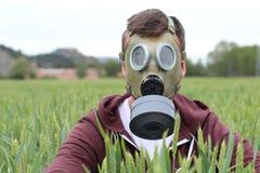 Mężczyzna jest ubranym oddychanie maskę w pszenicznym polu zdjęcia royalty free