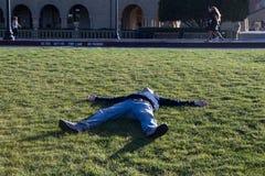 Mężczyzna kłama w trawie Fotografia Royalty Free