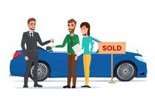 Mężczyzna, kobieta i samochodowy handlowiec, Biznesowy kreskówki pojęcia wektor ilustracja wektor