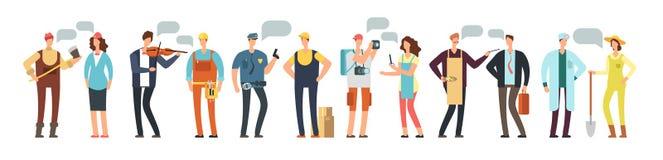 Mężczyzna, kobieta pracownik i specjalista i Grupa ludzi różni zawody z pustymi mowa bąblami odizolowywającymi na bielu Obrazy Stock