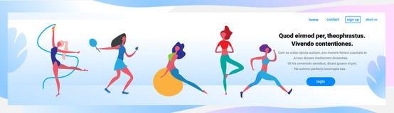 Mężczyzna kobieta robi różnorodność ćwiczeń postać z kreskówki sporta aktywność odizolowywał zdrowy pojęcie folującą styl życia d ilustracja wektor