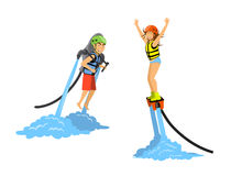 Mężczyzna, kobiety przejażdżka i flyboarding wodny jetpack i ilustracja wektor
