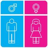 Mężczyzna, kobiety toaleta i toaleta lub kolorowa ikona royalty ilustracja