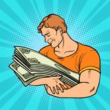 Mężczyzna kocha pieniądze, opiekę i konserwację finanse, ilustracja wektor