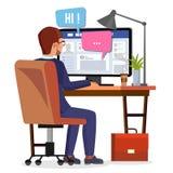 Mężczyzna Komunikuje Na Internetowym wektorze Osobista Ogólnospołeczna strona Na ekranie czarny komunikacji koncepcji odbiorców t ilustracja wektor