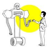 Mężczyzna komunikuje z robotem Futurystyczna sytuaci ilustracja Wektor odizolowywający konturu nakreślenie royalty ilustracja