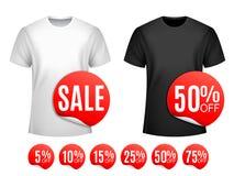 Mężczyzna koszulki sprzedaż ilustracja wektor