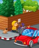 Mężczyzna kraść rower przy drogowym kątem Obraz Stock