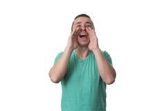 Mężczyzna Krzyczy Out Głośny Odosobnionego Na Białym tle zdjęcie royalty free