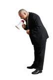 Mężczyzna krzyczy przy megafonem i patrzeje w dół Zdjęcie Royalty Free