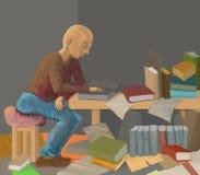 mężczyzna książkowy czytanie Royalty Ilustracja