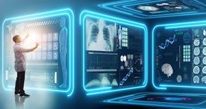 Mężczyzna lekarka w futurystycznej medycyny medycznym pojęciu fotografia royalty free