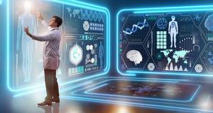 Mężczyzna lekarka w futurystycznej medycyny medycznym pojęciu fotografia stock