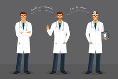 Mężczyzna lekarka w różnorodnych pozach Obraz Stock