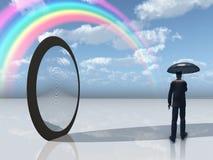 mężczyzna lustrzany otwarcia parasol royalty ilustracja