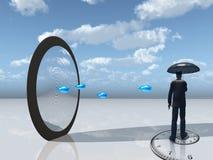 mężczyzna lustrzany otwarcia parasol ilustracji
