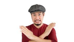 Mężczyzna mówić nie z ręka krzyżującym znakiem zdjęcia stock